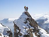 Mountaineers 'high-five' on summit of pinnacle