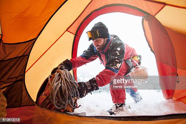 mountaineers in his tent