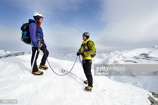 Mountaineers on top of snow-covered mountain, Saas Fee, Switzerland