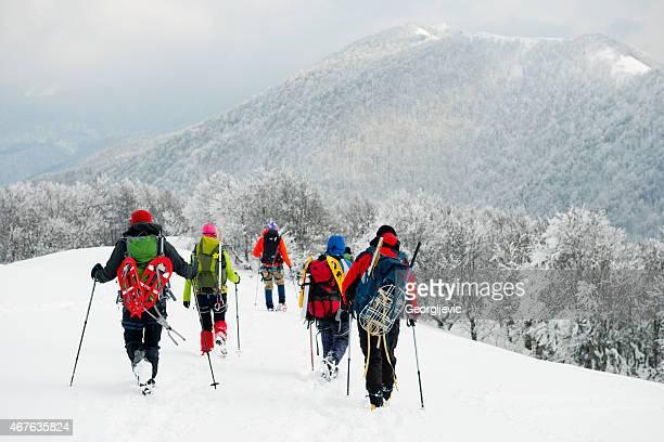 Mountaineers walking on the mountain.