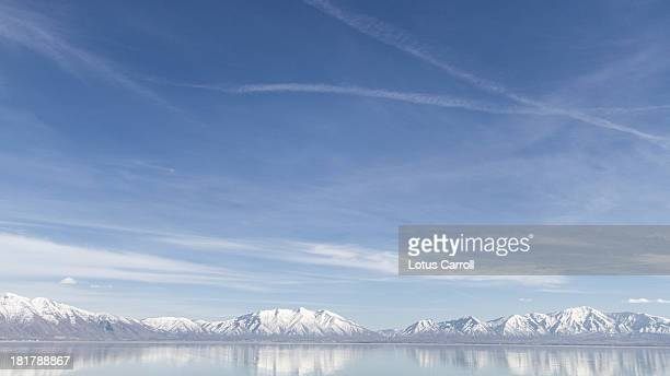 Mountains And Blue Sky Reflected in Utah Lake