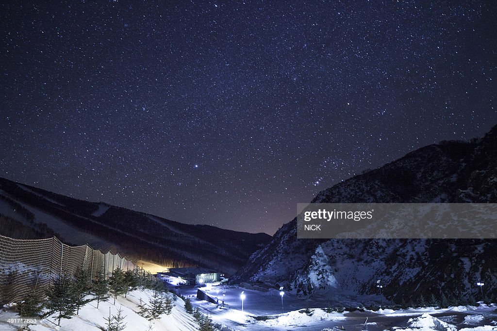 Mountains and stars in the winter night