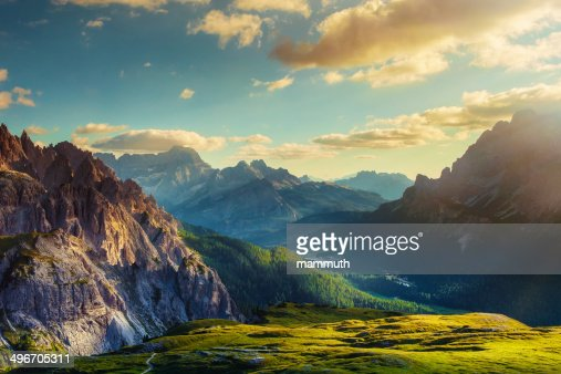 Mountains and valley at sunset