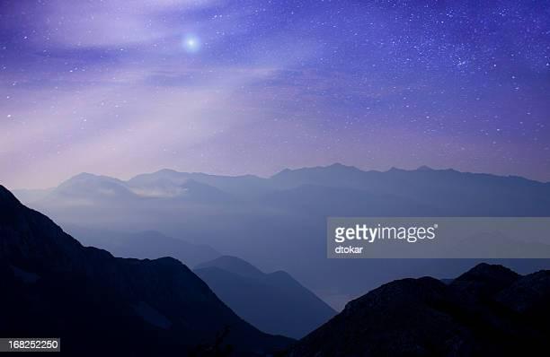 Mountains at night under milky way stars