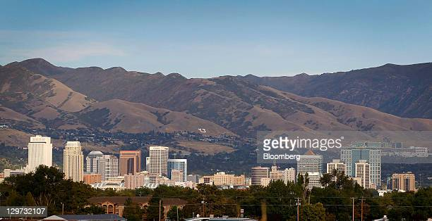 Mountains frame the skyline of Salt Lake City Utah US on on Wednesday Oct 12 2011 Dallin H Oaks a member of the governing body of the Church of Jesus...