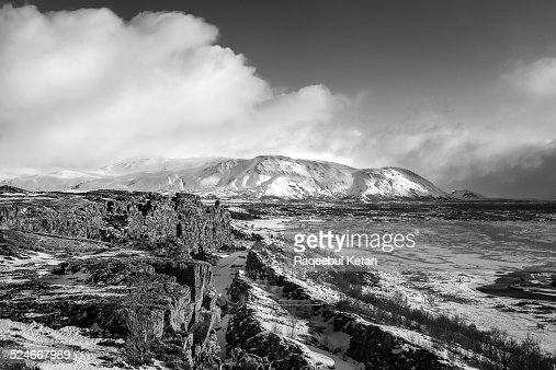 Mountains of Pingvellir National Park in Iceland