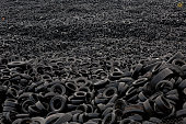 Mountains of used tyres lay on a dump in the countryside on September 24 2014 in Sesena Nuevo near Madrid Spain Used tyres dump site in Sesena is a...