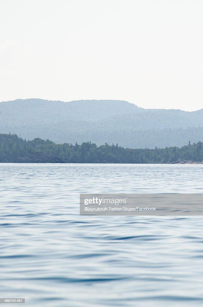 Mountains over a lake