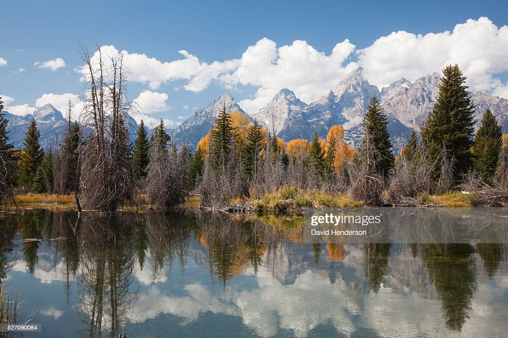 Mountains over Snake River, Wyoming, USA : Stock Photo