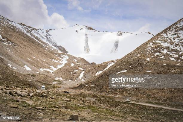 Mountains range around Khardungla Pass in Leh, Ladakh, Jammu and Kashmir, India.