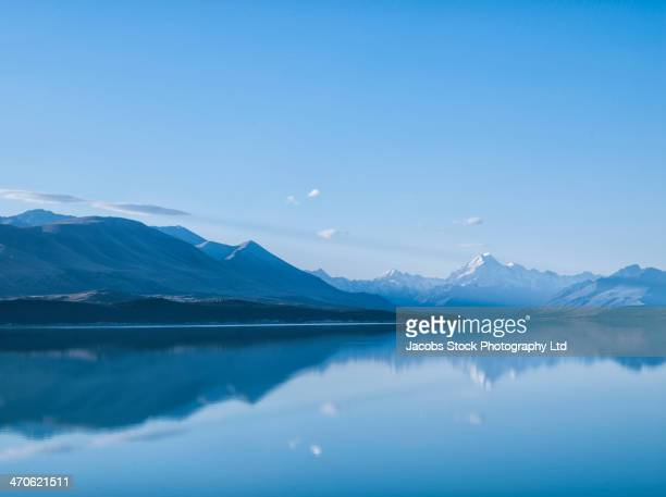 Mountains reflected in still lake