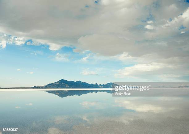 Mountains Reflected in Water on Salt Flats.