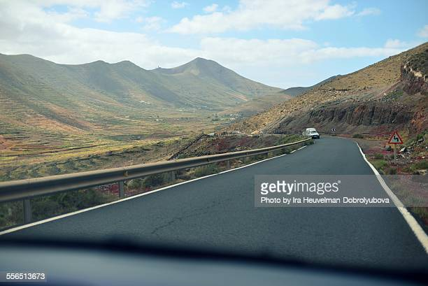 Mountains road on Fuerteventura island, Spain