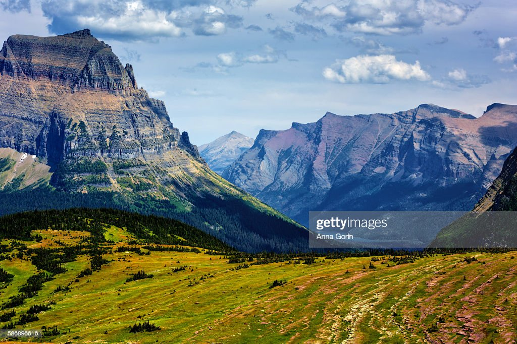 Mountains towering above green meadows at Logan Pass in summer, Glacier National Park, Montana