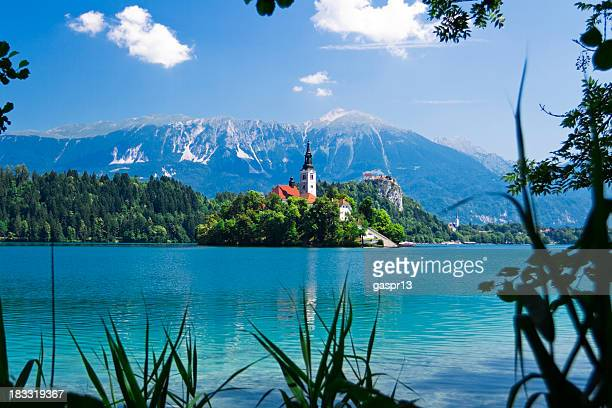 Mountains, trees and turquoise waters of Bled, Slovenia