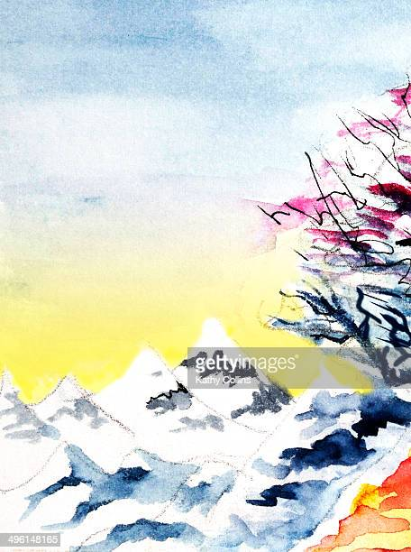 Mountains watercolour hand painted