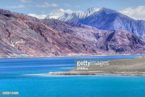 Mountains,Pangong tso (Lake),Leh,Ladakh,Jammu and Kashmir,India : Stock Photo