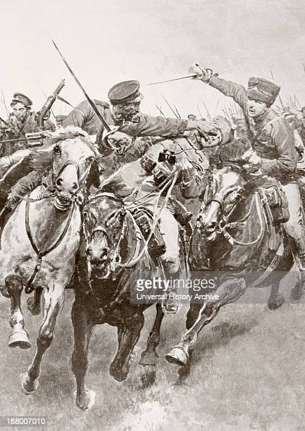 Mounted Combat Between Russian Cossacks And German Cavalry Known As The Hussars Of Death En Schwansfeld Between Korschen And Bartenstein Eastern...