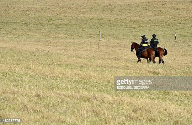 Mounted police patrol atound the Pedregal building where the III Celac Summit 2015 will be held 20 km northwest of San Jose on January 26 2015 More...