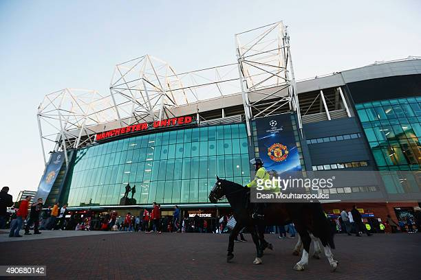 Mounted police patrol outside the stadium prior to the UEFA Champions League Group B match between Manchester United FC and VfL Wolfsburg at Old...