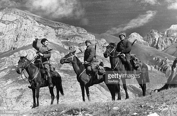 Mounted red army scouts in the mountains of the northern caucasus november 1942 world war ll