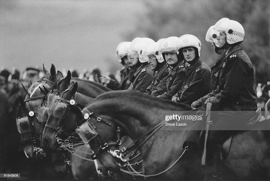 Mounted riot police at the miners' demonstration at Orgreave colliery, Yorkshire, where miners picketed the mine, 2nd June 1984. Soon afterwards, the 'Battle of Orgreave' took place.
