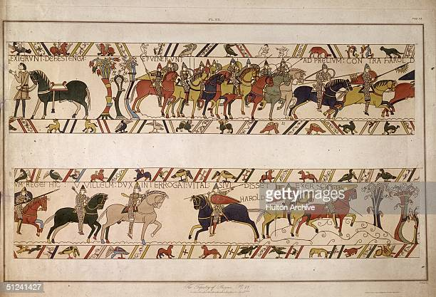 1066 Mounted soldiers armed with spears and bows and arrows during the Norman conquest of England as depicted in the Bayeux tapestry Original Artwork...
