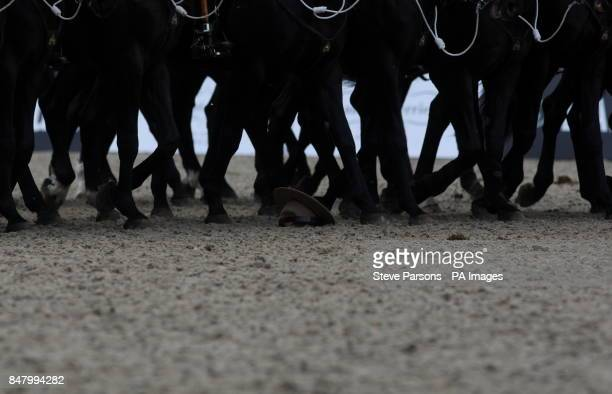 A Mountie's hat escapes being trampled The Royal Canadian Mounted Police perform for Queen Elizabeth II at the Royal Windsor Horse Show at Windsor...