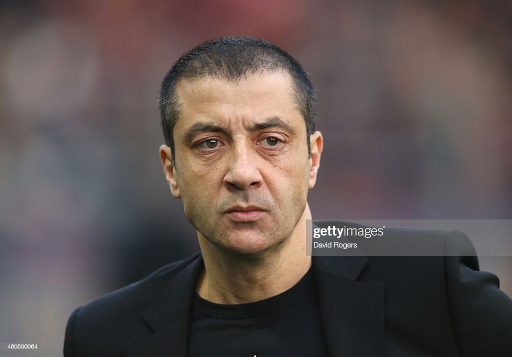 Mourad Boudjellal, owner of RC Toulon looks on during the European Rugby Champions Cup pool three match between RC Toulon and Leicester Tigers at Felix Mayol Stadium on December 13, 2014 in Toulon, France.