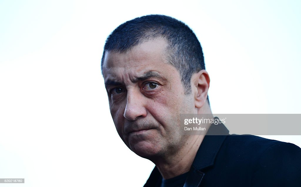 Mourad Boudjellal, Owner of RC Toulon looks on prior to the European Rugby Champions Cup Quarter Final between Racing 92 and RC Toulon at Stade Yves Du Manoir on April 10, 2016 in Paris, France.