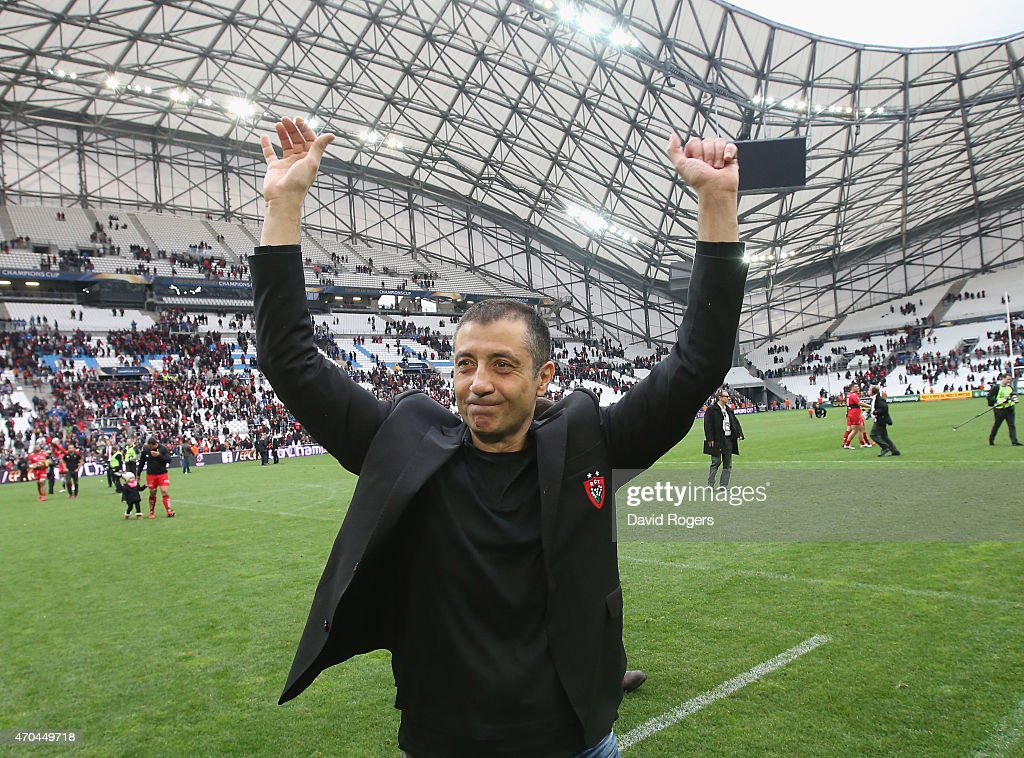 Mourad Boudjellal owner of Toulon celebrates after their victory during the European Rugby Champions Cup semi final match between RC Toulon and Leinster at Stade Velodrome on April 19, 2015 in Marseille, France.
