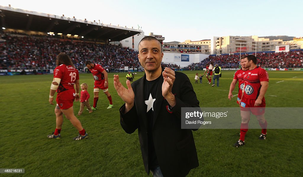 <a gi-track='captionPersonalityLinkClicked' href=/galleries/search?phrase=Mourad+Boudjellal&family=editorial&specificpeople=3974182 ng-click='$event.stopPropagation()'>Mourad Boudjellal</a> the owner of Toulon Rugby celebrates after his teams victory during the Heineken Cup quarter final match between Toulon and Leinster at the Felix Mayol Stadium on April 6, 2014 in Toulon, France.