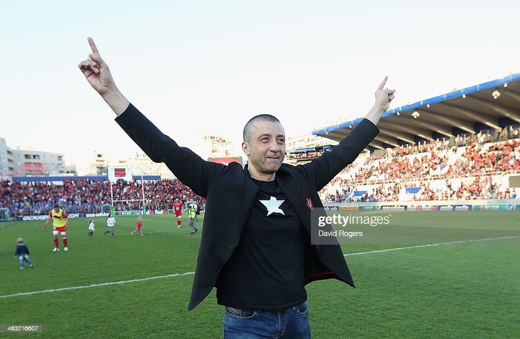 Mourad Boudjellal the owner of Toulon Rugby celebrates after his teams victory during the Heineken Cup quarter final match between Toulon and Leinster at the Felix Mayol Stadium on April 6, 2014 in Toulon, France.