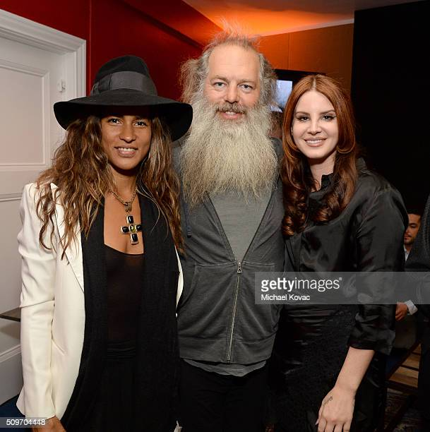 Mourielle Herrera honoree Rick Rubin and recording artist Lana Del Rey pose during the PE Wing Event honoring Rick Rubin at The Villiage Studios on...