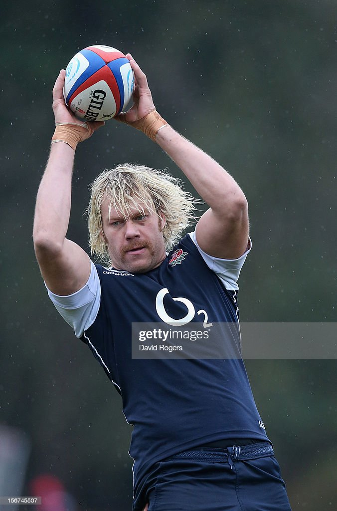 Mouritz Botha catches the ball during the England training session held at Pennyhill Park on November 20, 2012 in Bagshot, England.
