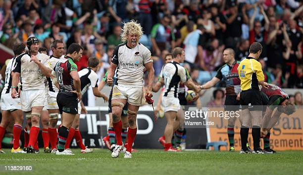 Mouritz Botha of Saracens celebrates after the Aviva Premiership match between Harlequins and Saracens at The Stoop on May 7 2011 in London England