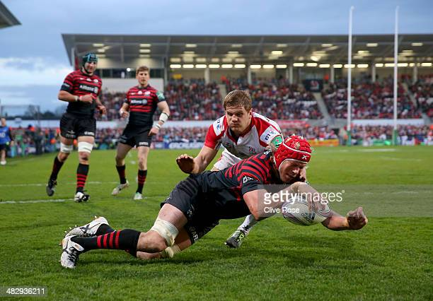 Mouritz Botha of Saracens dives over to score a try during the Heineken Cup QuarterFinal match between Ulster and Saracens at Ravenhill on April 5...