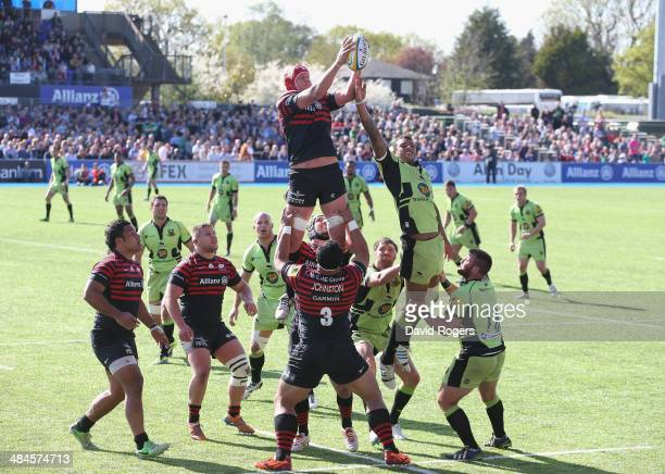 Mouritz Botha of Saracens wins the lineout ball during the Aviva Premiership match between Saracens and Northampton Saints at Allianz Park on April...