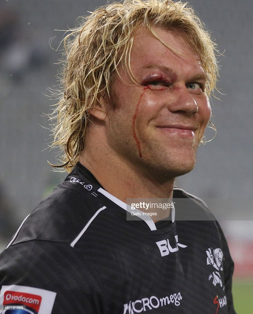 Mouritz Botha of the Cell C Sharks during the Super Rugby match between Cell C Sharks and Chiefs at Growthpoint Kings Park on March 21 2015 in Durban...