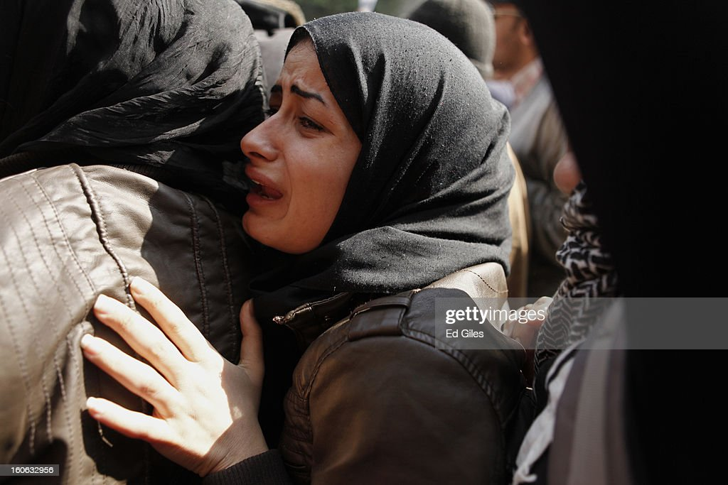 A mourner attends a funeral for two protesters killed during violent clashes with Egyptian security forces in the Egyptian capital in previous days, at the Omar Makram Mosque in Tahrir Square, on February 4, 2013 in Cairo, Egypt. The funeral, held for Egyptian protesters Mohammed al Guindy and Amr Saad who were killed during fighting with riot police at protests near Cairo's Tahrir Square and outside Egypt's Presidential Palace. Protests have continued across Egypt nearly more than one week after the second anniversary of the Egyptian Revolution that overthrew former President Hosni Mubarak on January 25, 2011.