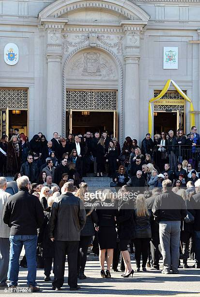 Mourners and family stand by the coffin of Angela 'Big Ang' Raiola during the funeral service held for Angela 'Big Ang' Raiola on February 22 2016 in...