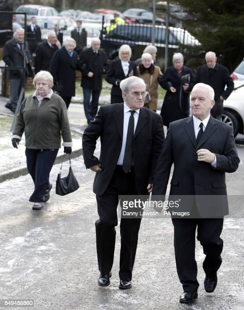 Mourners arrive at the funeral of former Celtic assistant manager Sean Fallon at Christ the King Church in Glasgow