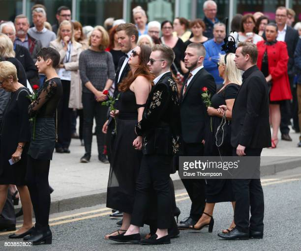 Mourners arrive for the funeral of Martyn Hett at Stockport Town Hall on June 30 2017 in Stockport England Martyn Hett was killed during the...