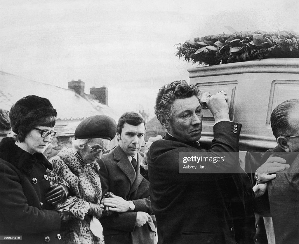 Mourners at the funeral of Lesley Whittle, including her mother Dorothy, who is being supported between her son Ronald and her sister Sandra Dorrell, March 1975. 17-year-old Lesley was murdered by serial killer Donald Neilson, aka The Black Panther.