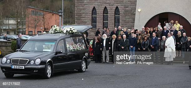 Mourners at the funeral of Therese MacGowan the mother of singer Shane MacGowan at Our Lady of Lourdes Church Silvermines Co Tipperary