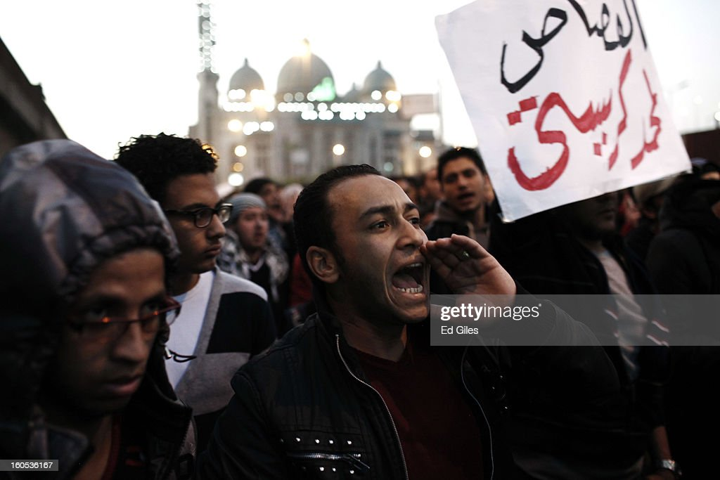 Mourners attend a commemoration ceremony for a protester, killed during clashes with Egyptian security forces the previous night, at the Al Noor Mosque on February 2, 2013 in Cairo, Egypt. 23-year old protester Mohammed Hussein Korani was killed after sustaining gunshot wounds to the neck and chest during fighting with riot police outside Egypt's Presidential Palace in Cairo late on the night of February 1. Protests continued across Egypt nearly one week after the second anniversary of the Egyptian Revolution that overthrew former President Hosni Mubarak on January 25, 2011.(Photo by Ed Giles/Getty Images).