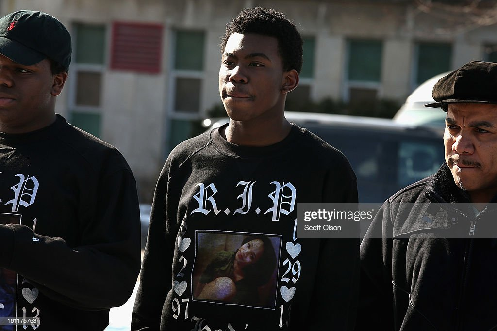 Mourners attend the funeral for 15-year-old Hadiya Pendleton at the Greater Harvest M.B. Church February 9, 2013, in Chicago, Illinois. Hadiya was killed on January 29, when a gunman opened fire on her and some friends while they were standing under a shelter on a warm rainy afternoon in a park about a mile from President Obama's Chicago home. First lady Michelle Obama attended the funeral with Senior White House Adviser Valerie Jarrett and Secretary of Education Arne Duncan.