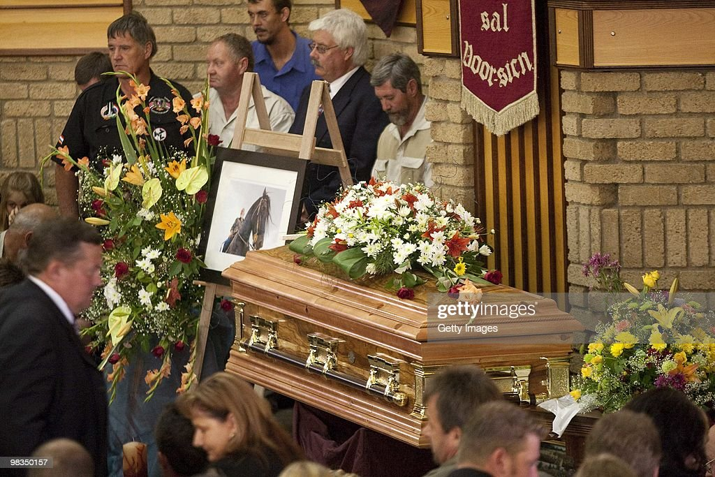 Mourners attend the funeral of Afrikaner Resistance Movement (AWB) slain leader Eugene Terre'Blanche on April 9, 2010 in Ventersdorp, South Africa. Some 3,000 people attended the funeral of the white supremacist who was murdered last Saturday at his farm. Two of Terrblanche's employees have been charged with his murder.