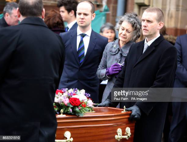 Mourners attend the funeral of Belfastborn actor Jimmy Ellis which took place at St Mark's Church on Holywood Road east Belfast