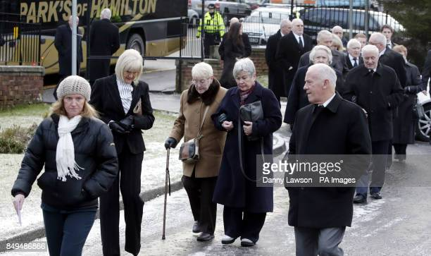 Mourners attend the funeral of former Celtic assistant manager Sean Fallon at Christ the King Church in Glasgow
